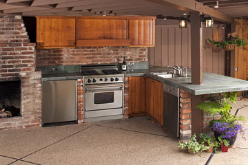 a outdoor kitchen